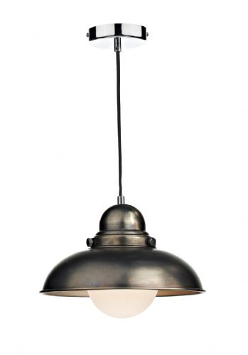 Dynamo 1-light Antique Chrome Pendant Ceiling Light (Class 2 Double Insulated) BXDYN0161-17